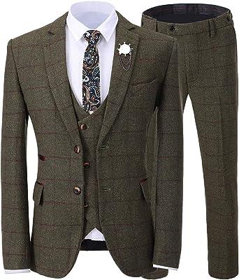 Amazon Com Traje Formal De Tweed Para Hombre De 3 Piezas Para Hombre Slim Fit Plaid Esmoquin Para Novios De Boda Blazer Chaleco Pantalón Clothing