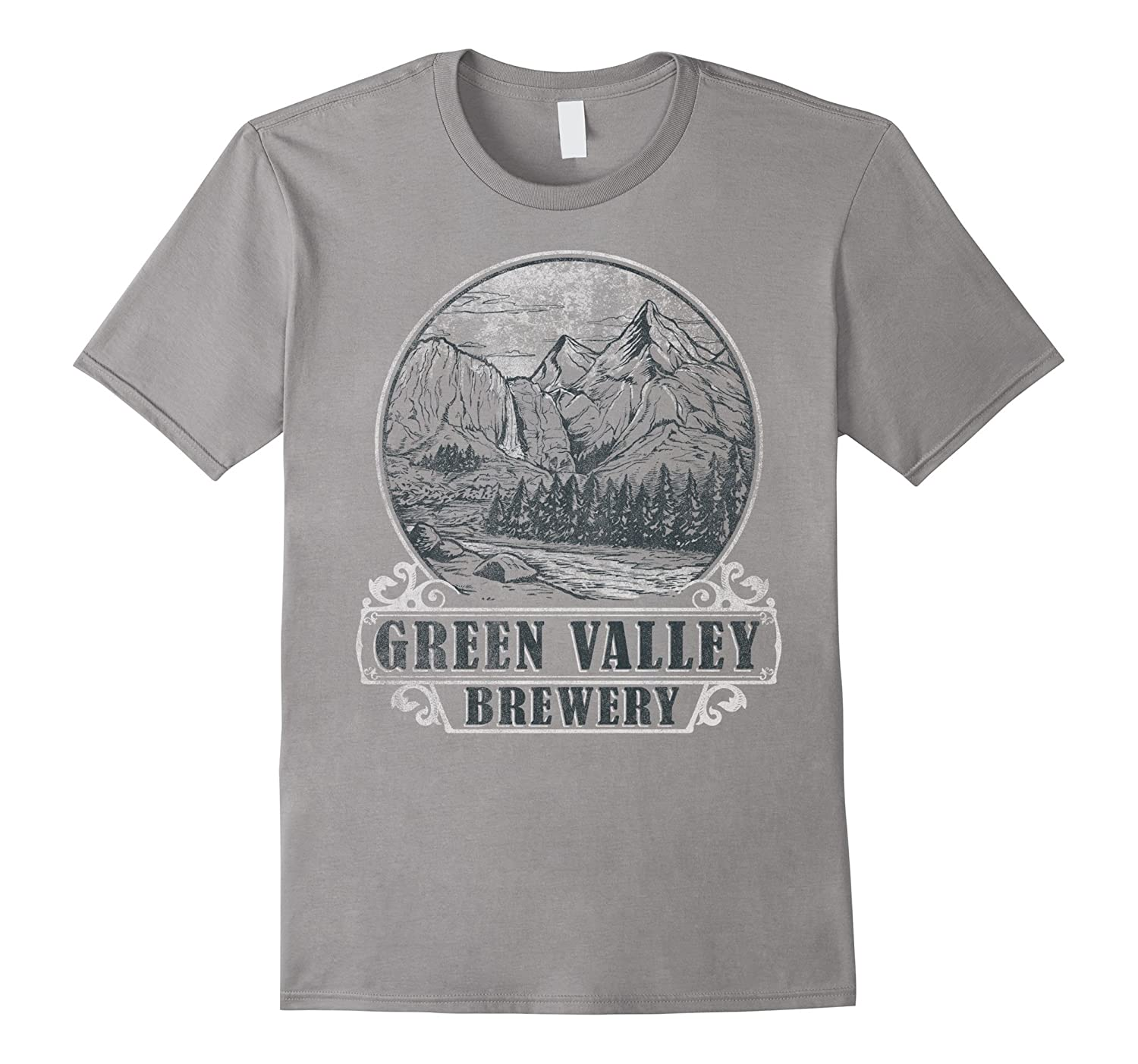 Green Valley Brewery Mountain Forest Vintage Graphic T-Shirt-FL