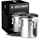 Bean Envy Airtight Coffee Canister - 16oz - Sealed Cantilever Lid with Co2 Gas Release Wicovalve & Numerical Day/Month Tracker - Stainless Steel Storage Vault for Whole/Ground Coffee Bean - Stainless