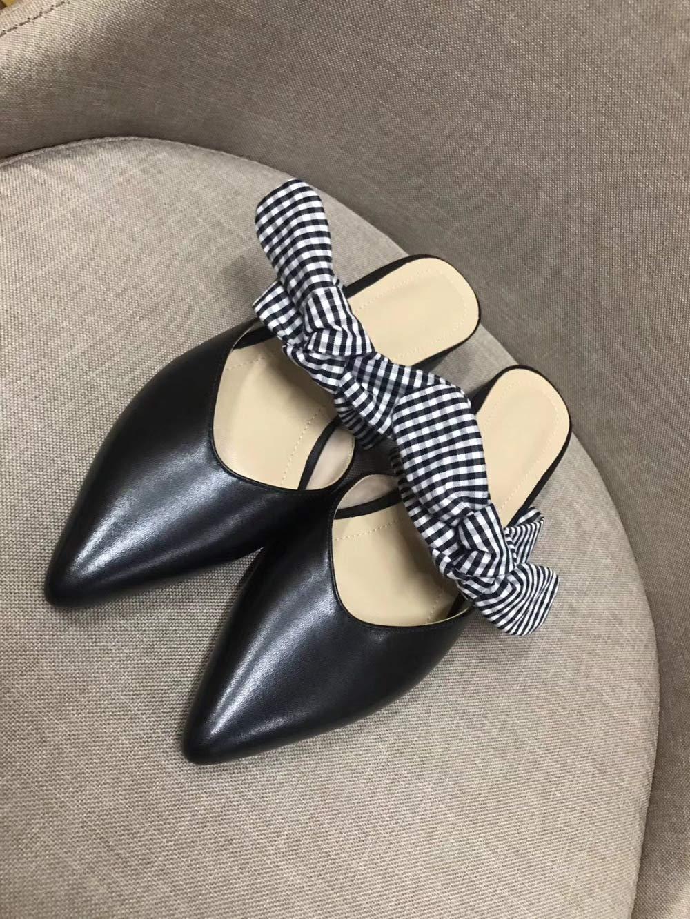 noir(38) JIA HONG Nouveau Baotou Demi-Pantoufles Femmes Muller Chaussures en Cuir Plaqué Archet Les Les dames,Beige(37)