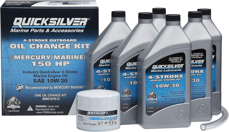 Quicksilver 8M0107513 Marine Engine Oil Change Kit for Mercury/Mariner 150 HP Engines