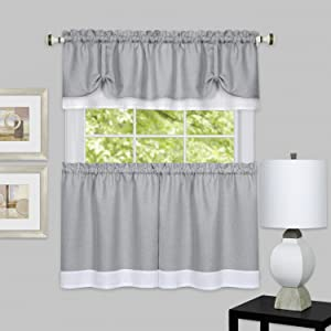 "Achim Home Furnishings DRTV36GW12 Darcy Window Curtain Tier Pair & Valance Set, 58"" x 36"" with 14"" Valance, Grey/White, Pair"