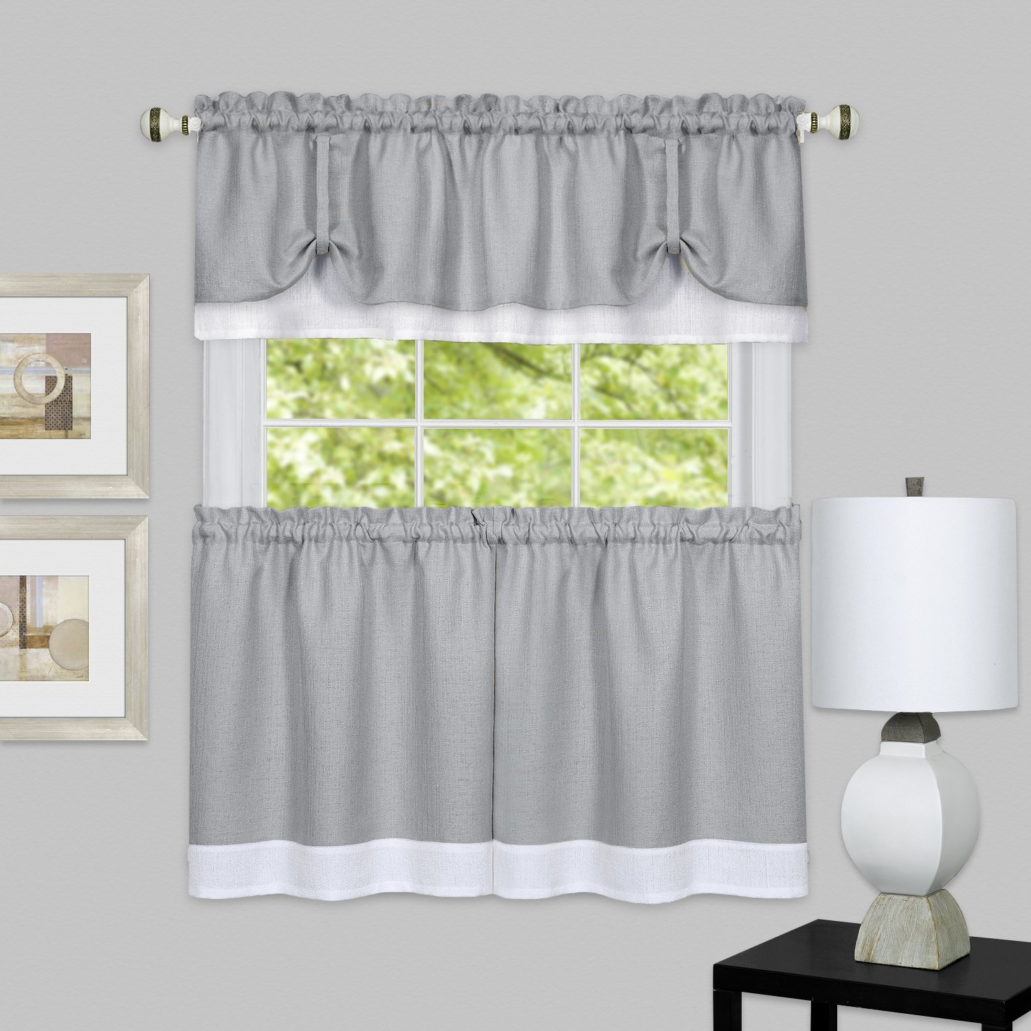 "Achim Home Furnishings chim Home Furnishings DRTV24GW12 Darcy Window Curtain Tier Pair & Valance Set, 58"" x 24"" with 14"" Valance, Grey/White Pair"
