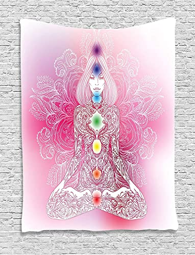 Ambesonne Chakra Tapestry, Mystical Female Character with Lace Inspired Lines Solar System Balance Bohemian, Wall Hanging for Bedroom Living Room Dorm Decor, 40 X 60 , Pink