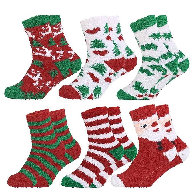 Fascigirl Calcetines de Navidad de 6 pares calcetines preciosos Calcetines de lana calcetines bordados calcetines para mujeres: Amazon.es: Ropa y accesorios