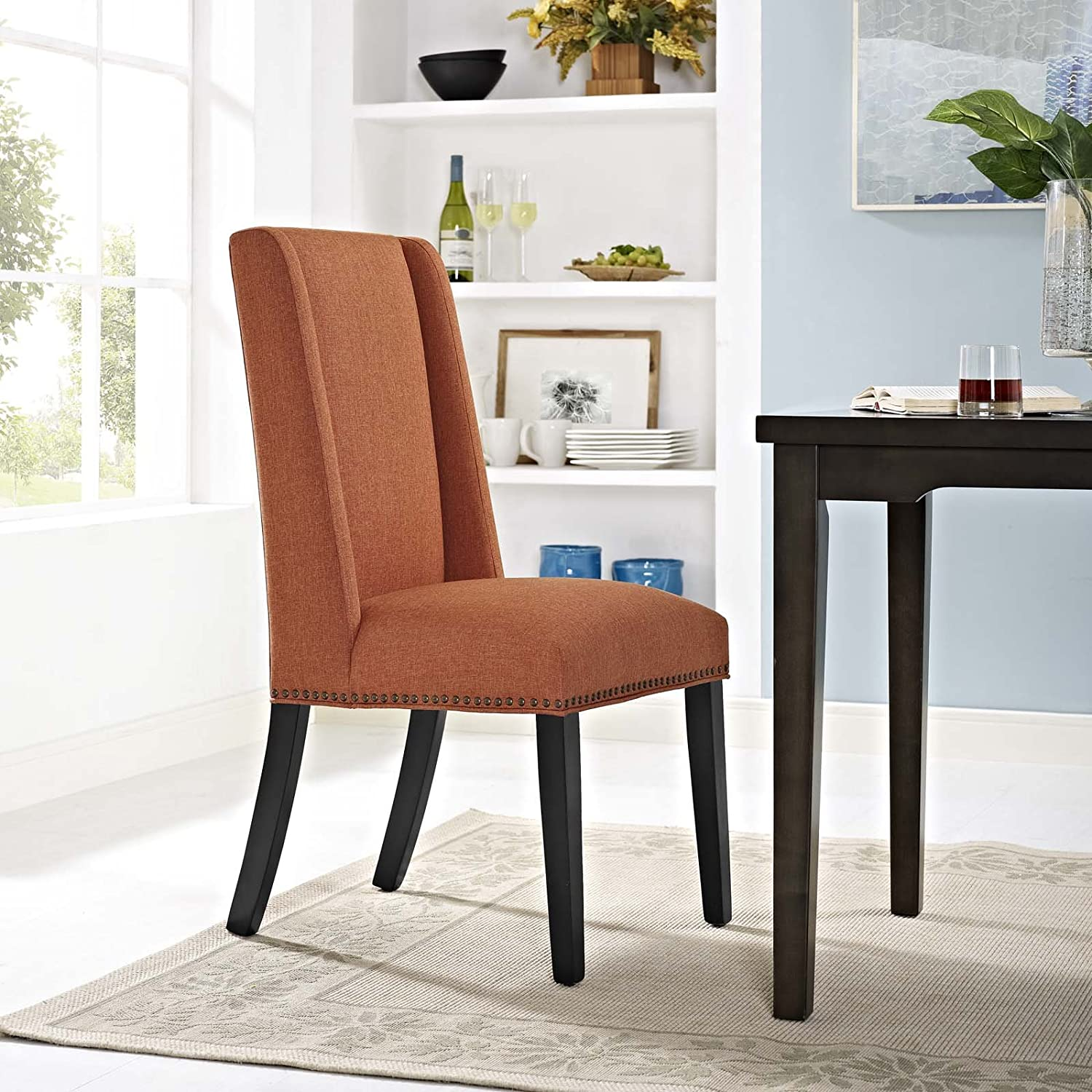 Modway Baron Modern Tall Back Wood Upholstered Fabric Parsons Kitchen and Dining Room Chair with Nailhead Trim in Orange