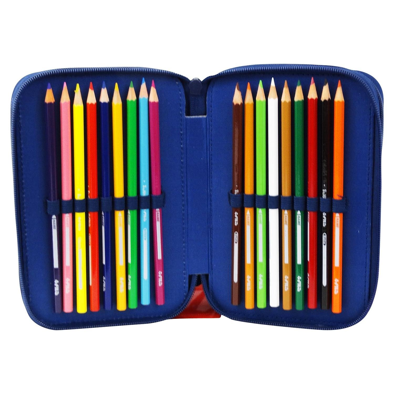 I Puffi Astuccio Tre Zip Portapastelli Portapenne Colori Pennarelli Scuola Bambina