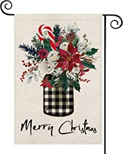 AVOIN Merry Christmas Buffalo Check Plaid Vase Holly Poinsettia Garden Flag Vertical Double Sized, Winter Holiday Pinecones Berry Candy Cane Yard Outdoor Decoration 12.5 x 18 Inch