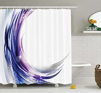 Ambesonne Abstract Shower Curtain Cool Artistic Wave Like Ombre Design With Vibrant Color Dots Artwork