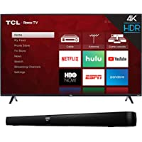 """TCL 55S425 55 inch 4K Smart LED Roku TV (2019) and TCL Alto 7 2.0 Channel Home Theater Sound Bar with Built-in Subwoofer - TS7000, 36"""", Black"""