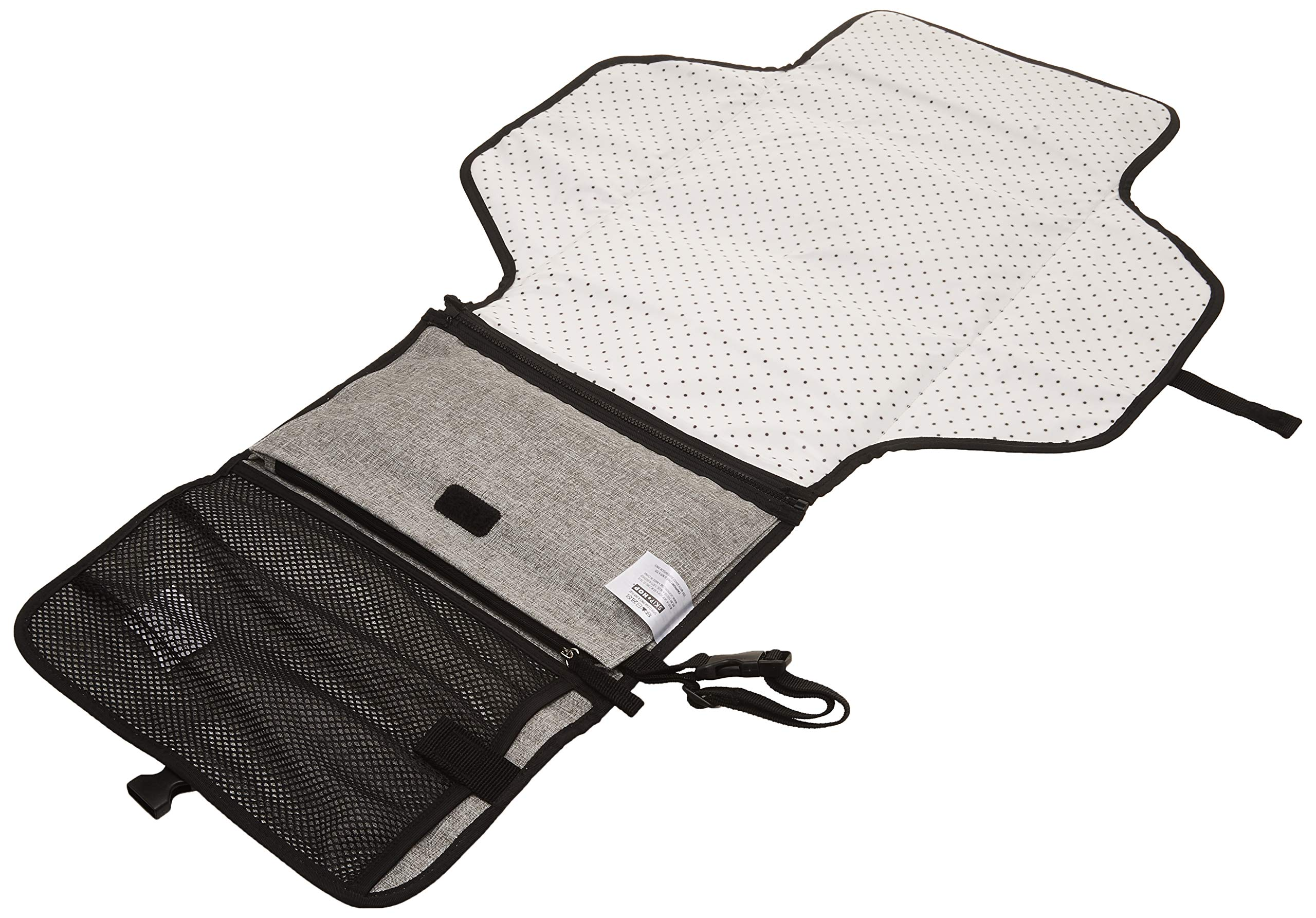 Skip Hop Pronto Signature Portable Changing Mat, Cushioned Diaper Changing Pad with Built-in Pillow, Grey Melange