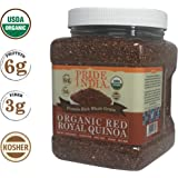 Pride Of India Organic Red Royal Quinoa - Protein Rich Whole Grain, 1.5 Pound (24oz) Jar