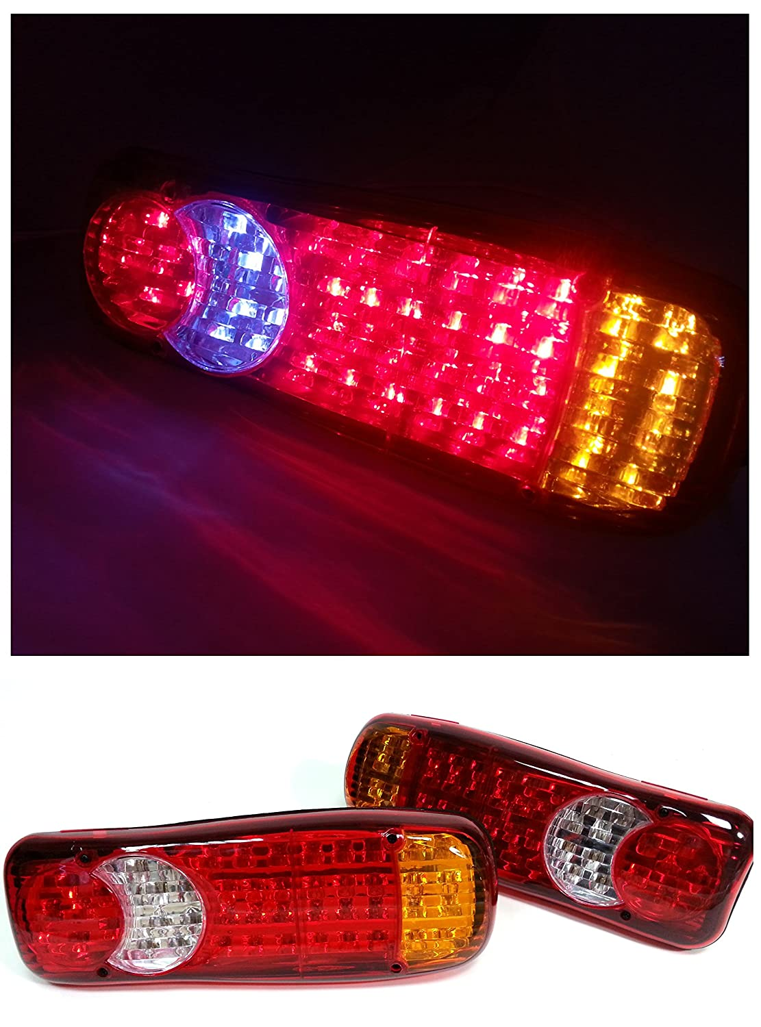 2x 24V LED REAR TAIL LIGHTS LAMPS 5 FUNCTION TRAILER LORRY TRUCK RECOVERY 46 LED