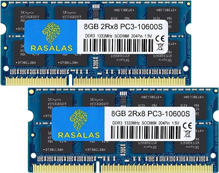Rasalas 16GB DDR3 (2x8GB) DDR3 1333MHz SODIMM PC3-10600 CL9 204-Pin Non-ECC Unbuffered Notebook Laptop RAM Memory Upgrade Kit