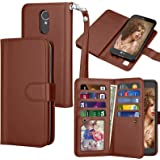 LG K20 V Case, LG K20 Plus Wallet Case, LG Harmony / LG Grace / LG V5 / K10 2017 PU Leather Case, Tekcoo Luxury Cash Credit Card Slots Holder Flip Cover [Detachable Magnetic Hard Case] - Brown