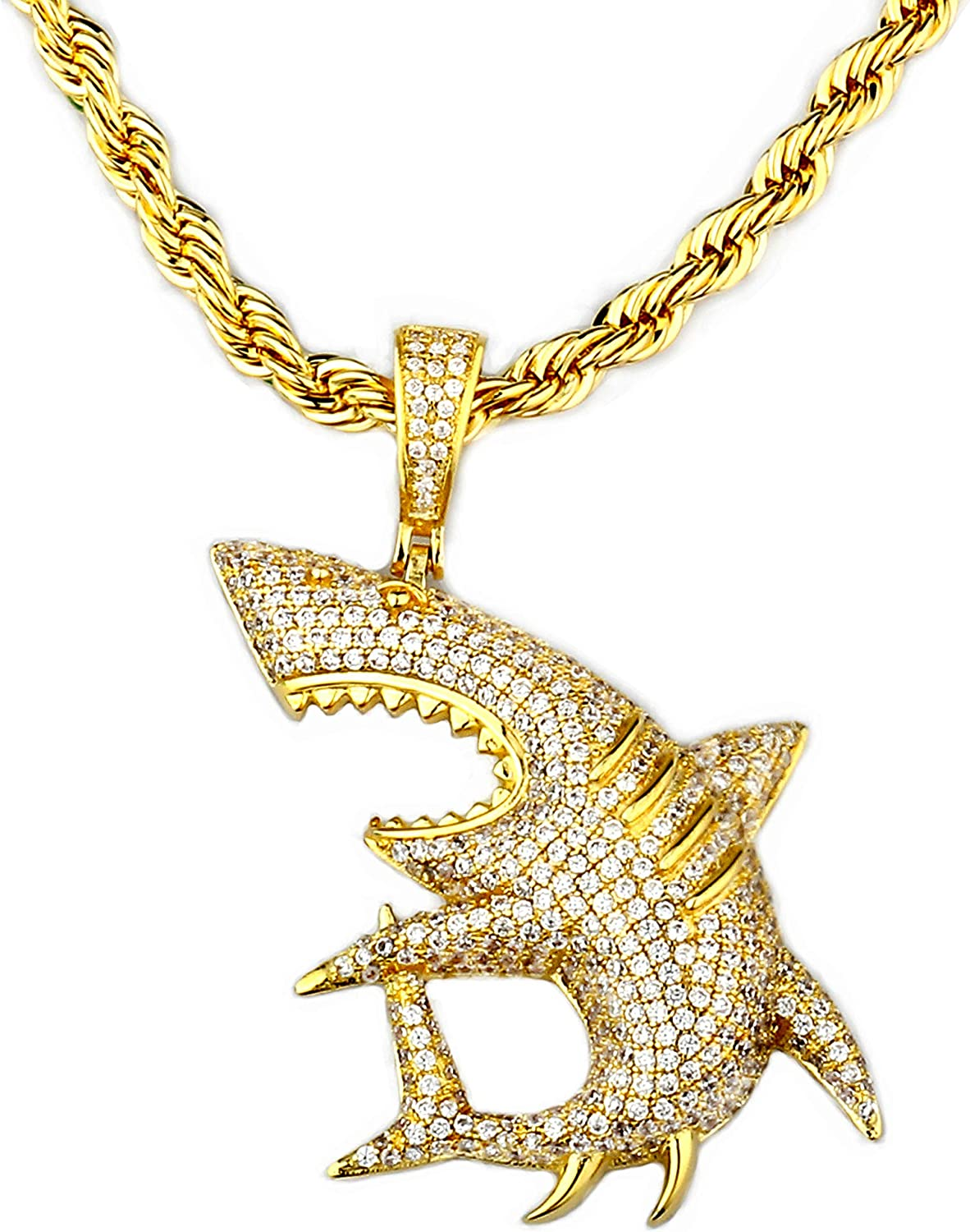"TENGLAI Hip Hop Shark Necklace, Long Chain Punk Rock Choker, Crystal Fish Jewelry, Premium Unisex Cubic Zirconia Shark Pendant with 24"" Rope/Box Chain"