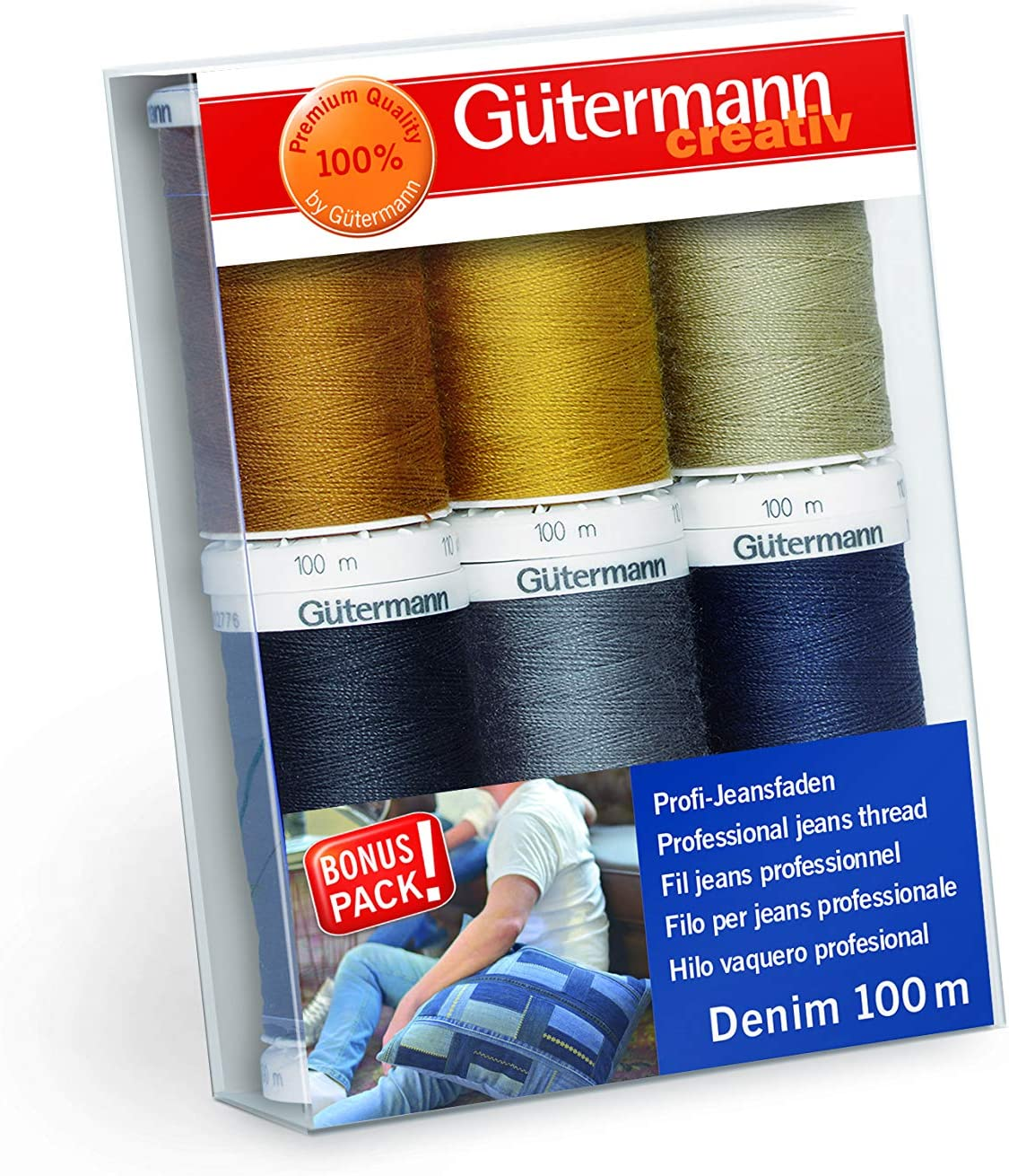 3 x GUTERMANN /'/'EXTRA STRONG JEAN/'/' THREAD 100metres  BLUE,GOLD,BROWN