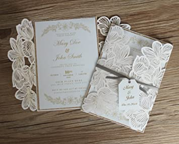 Amazon Com Picky Bride Floral Laser Cut Wedding Invitations Vintage