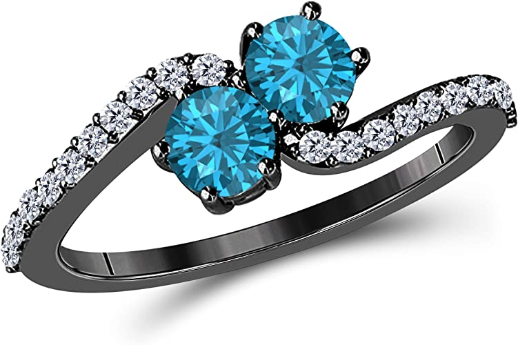SVC-JEWELS Unique Twisted Round Cut White Diamond /& Blue Topaz Engagement Ring for Women in 14K Black Gold Plated