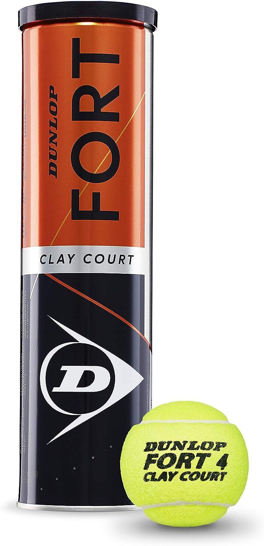 Dunlop Fort Clay Court Pelotas de Tenis, 4 Unidades, Unisex Adulto