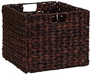 Household Essentials Wicker Open Storage Bin for Shelves, Dark Brown