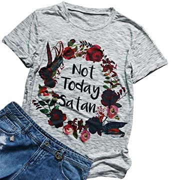 d7a63651 Not Today Satan Floral Printed Funny T Shirt Women's Casual Short Sleeve  Top Tee Size S