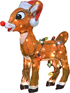 ProductWorks 26-Inch Holiday Décor Rudolph LED Pre-Lit 3D Yard Art with 80 Lights, Standing