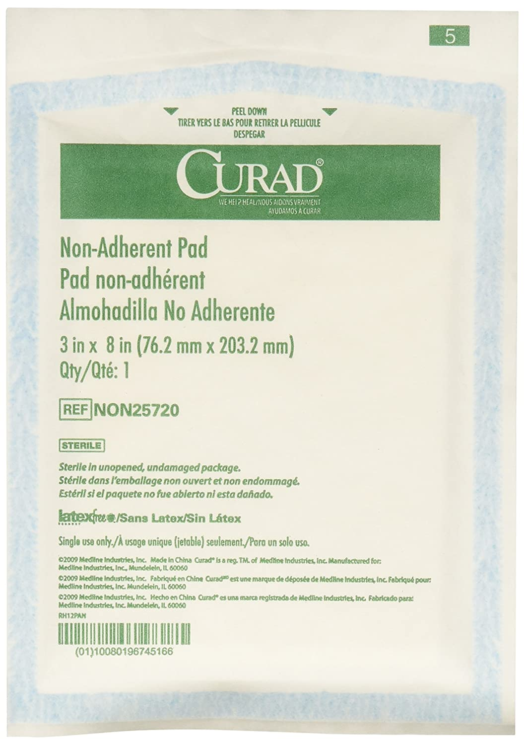 "Medline Curad Sterile Non-Adherent Pad, 3""x8"" (Pack of 50) - NON25720Z: Industrial & Scientific"