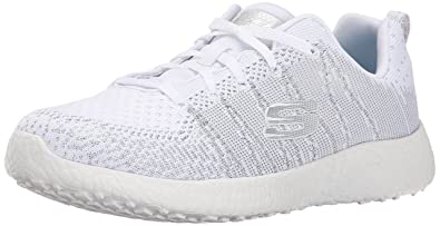 ce1a54e886 Skechers Sport Women's Burst First Glimpse Fashion Sneaker,White/Silver,8  ...