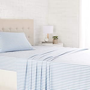 "AmazonBasics Lightweight Super Soft Easy Care Microfiber Sheet Set with 16"" Deep Pockets - Twin XL, Dusty Blue Pinstripe"