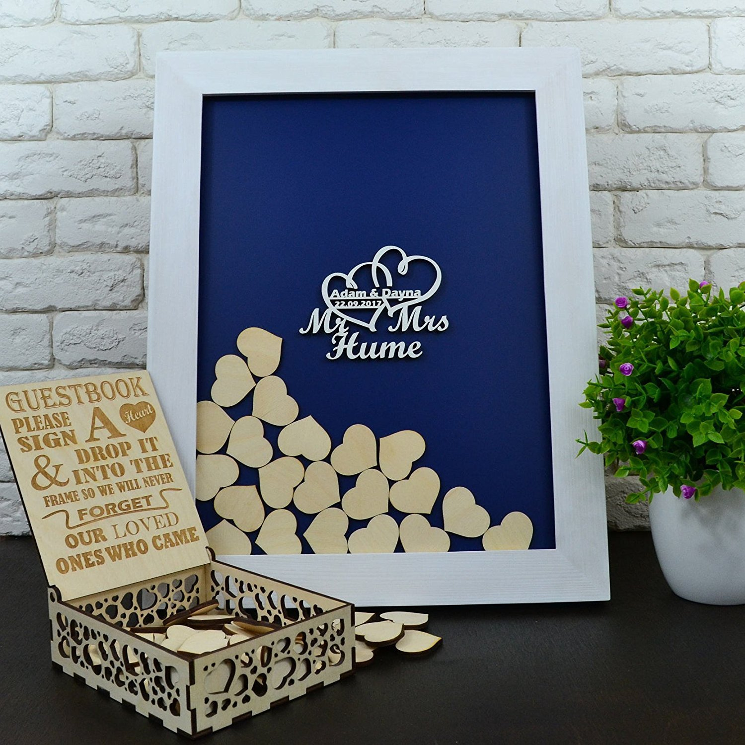 Tamengi Wedding Guest Book Frame,Custom Drop Top Guestbook,Wedding Decoration,Personalized Guest Book for Signature,Wood Heart Guestbook with 150Pcs Wooden Hearts by Tamengi (Image #1)