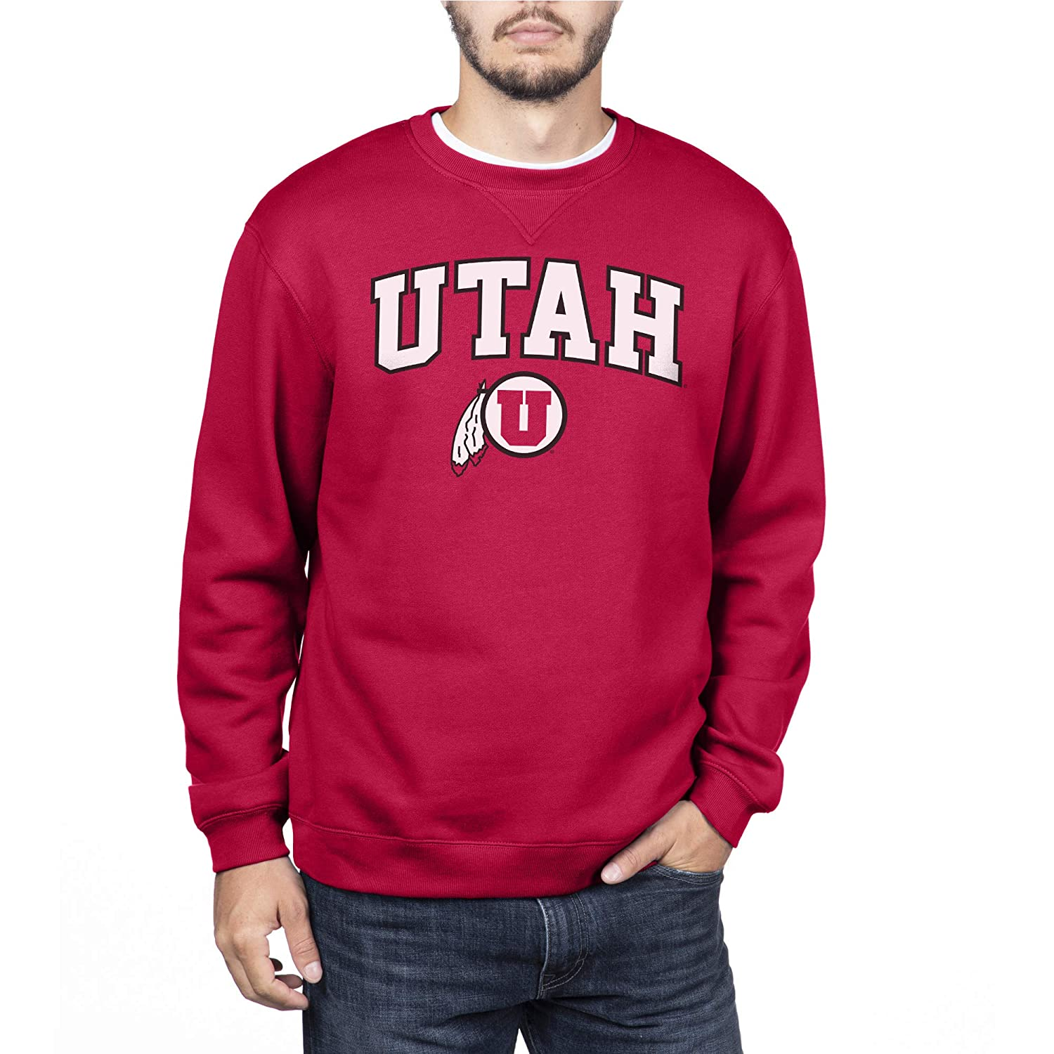 Medium NCAA Utah Utes Mens Team Color Crewneck Sweatshirt Red
