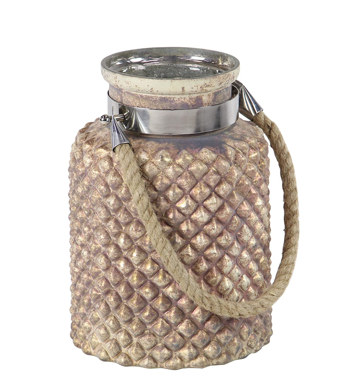 Brown Silver 7 W x 10 H Deco 79 24698 Coastal Jar Candle Lantern Gold