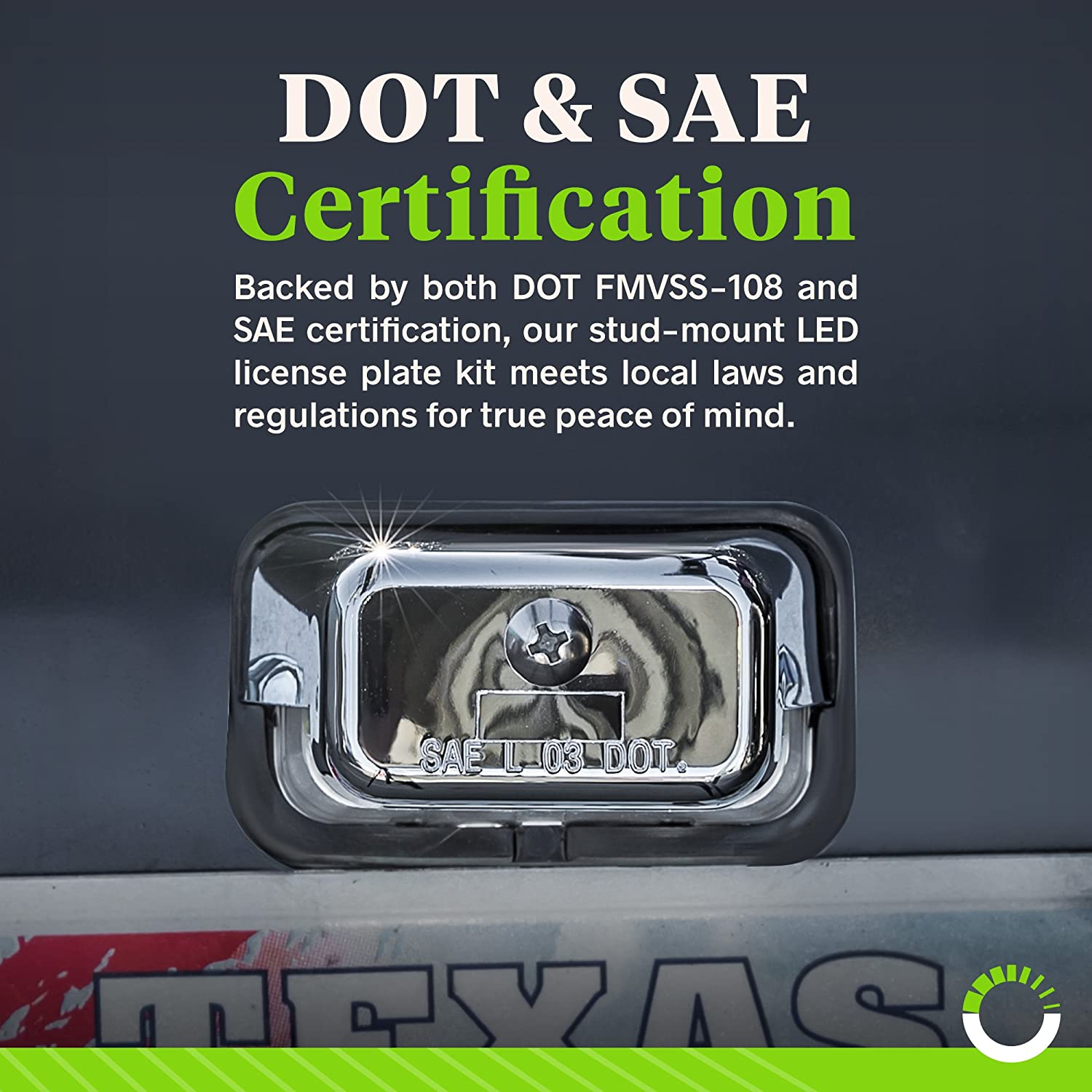 Chrome Housing Trucks /& Boats Ultra-Durable IP67 Waterproof Rated RVs License Tags for Trailers Surface-Mount LED Trailer License Plate Lights DOT//SAE Certified