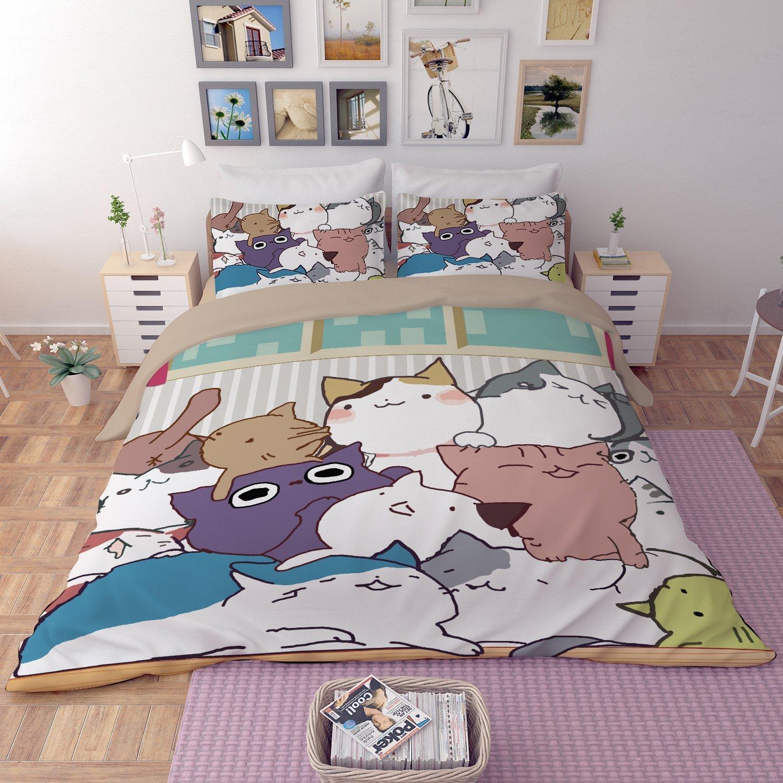 Queen Size Bedding Set for Boys Girls Cute Cat Cartoon Art Theme Prints Kids Duvet Cover Decor Duvet Cover Set Soft Microfiber Comforter Cover with 2 Pillow Shams