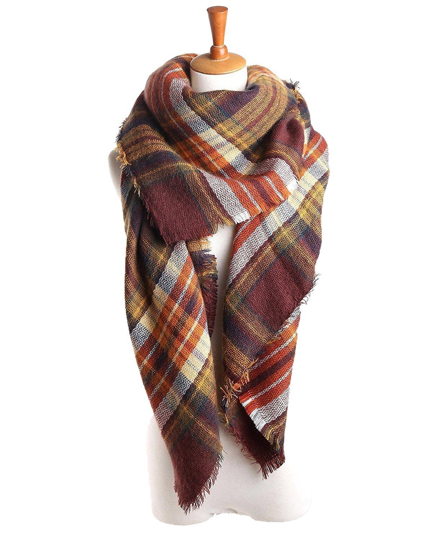 Women's Fall Winter Scarf Classic Tassel Plaid Scarf Warm Soft Chunky Large Blanket Wrap Shawl Scarves MNUSAUVBHQB5908