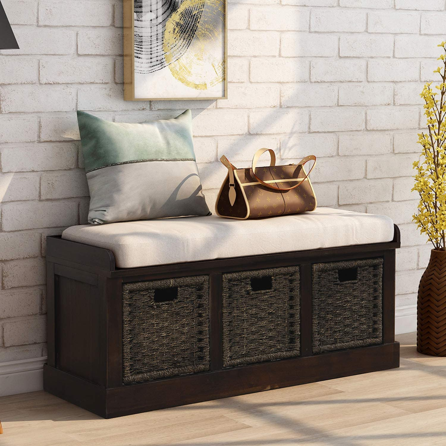 Amazon Com Storage Bench With 3 Basket Drawers Rustic Entryway Bench Shoe Bench With Cushioned Seat For Entryway Hallway Mudroom Living Room Espresso Kitchen Dining