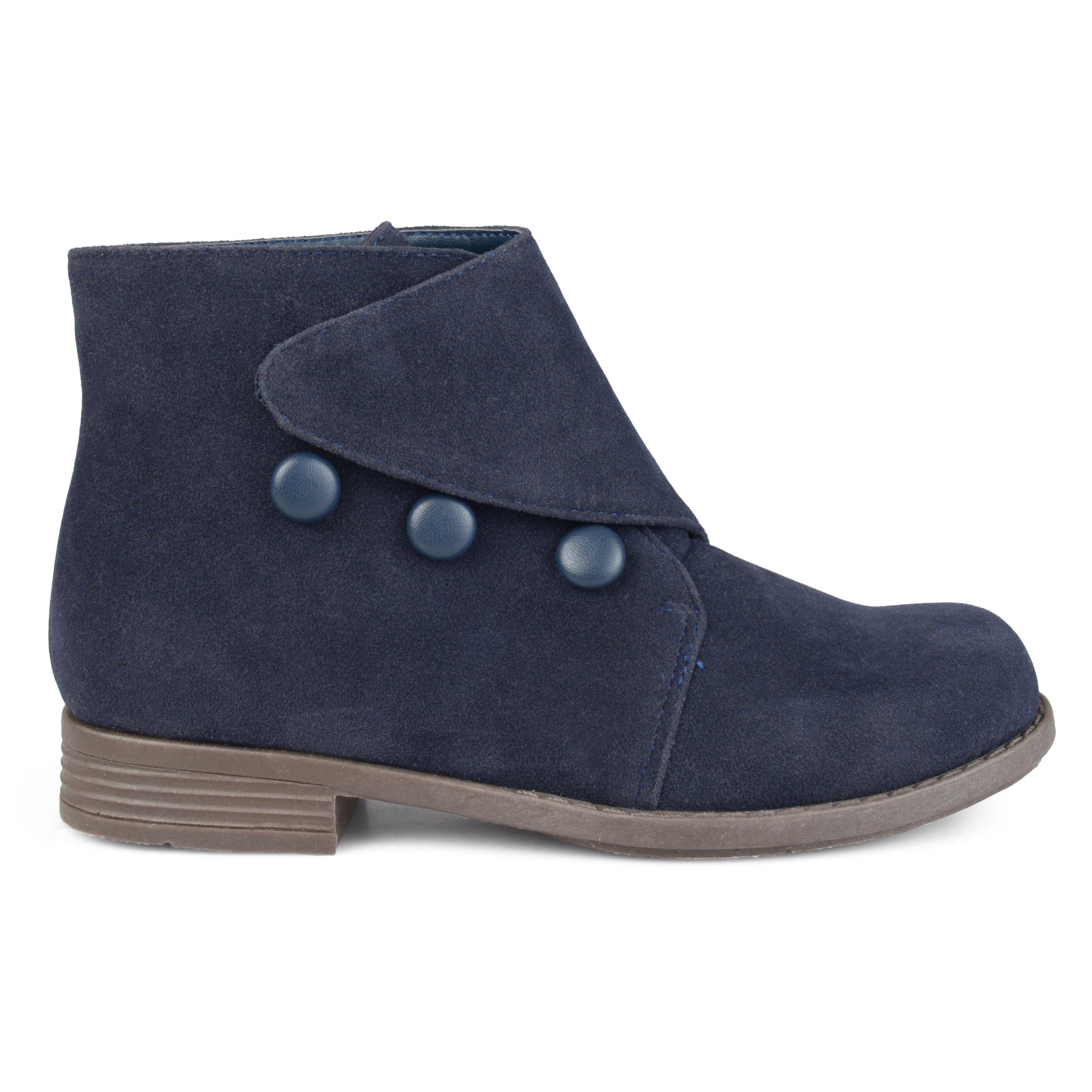 Brinley Co. Kids Faux Suede Button Vintage Boots Navy, 13 Regular US