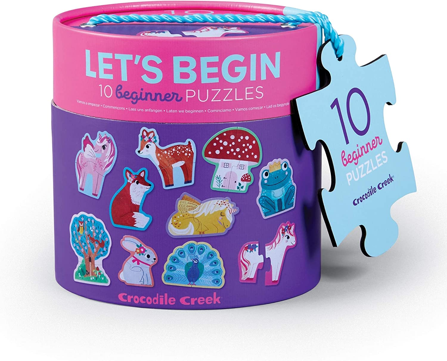 """/Let/'s Begin Unicorn/- /Ten 2-Piece Beginner Puzzles for Ages 2+ Crocodile Creek Heavy-Duty Canister for Storage Each 2-Piece Puzzle is Approximately 6/"""" x 4/"""""""
