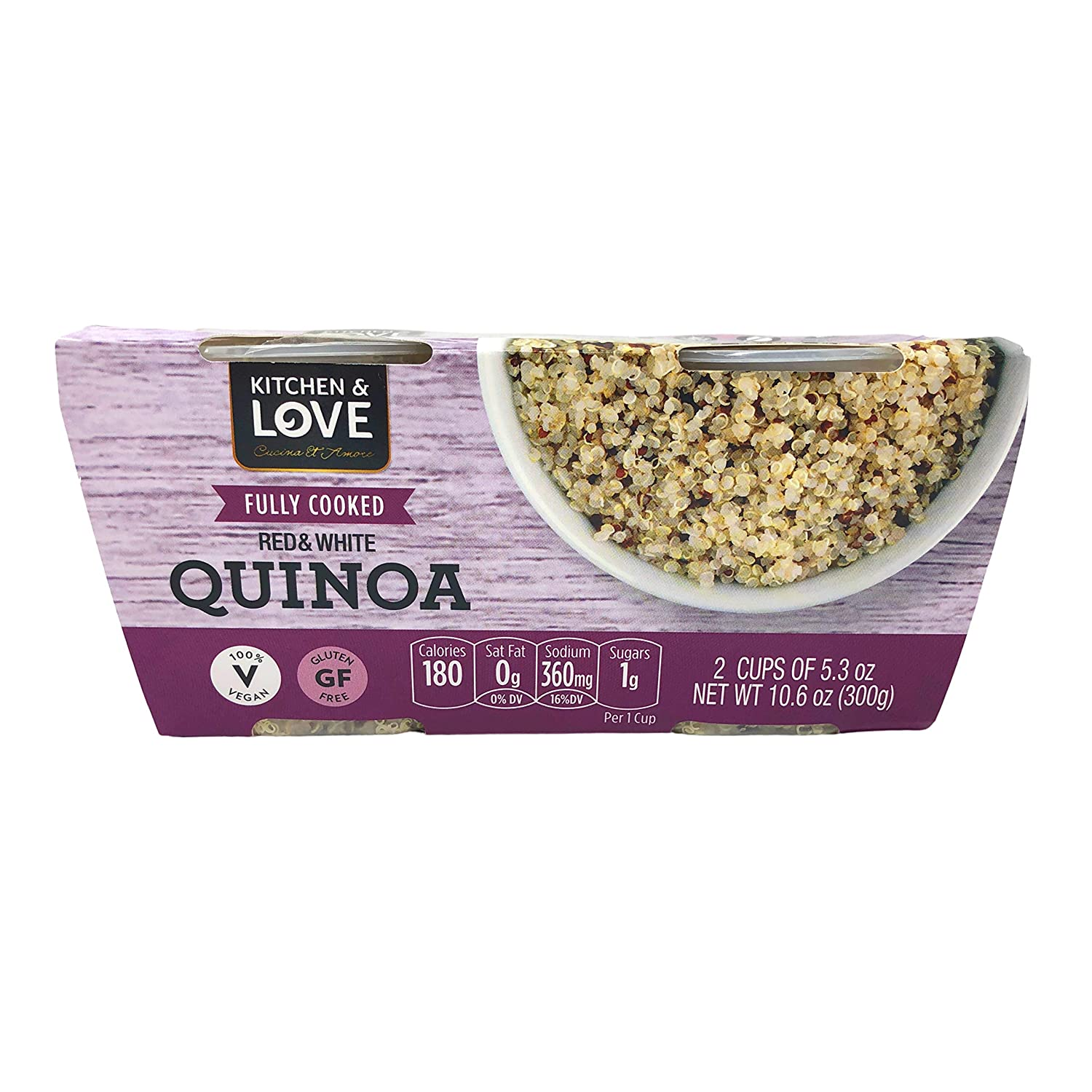 Kitchen & Love Fully Cooked Red & White Quinoa 12-Cups   Vegan, Gluten-Free, Ready-to-Eat, No Refrigeration Required