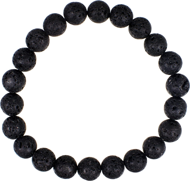 Lava Bead - 8mm Round - Elastic Bracelet