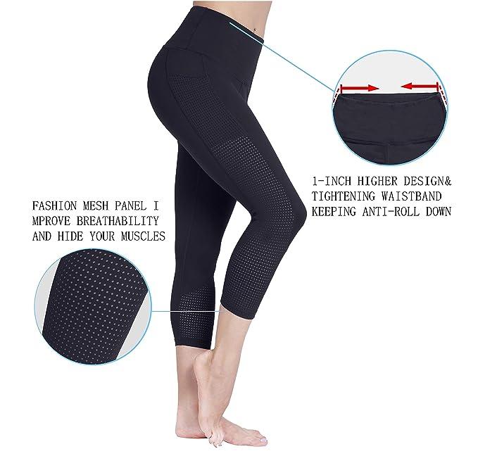 7a96d5001e0aa9 Amazon.com: Raypose High Waist Tummy Control Capri Yoga Pants Pocket for Women  Workout Running Capris Leggings: Clothing