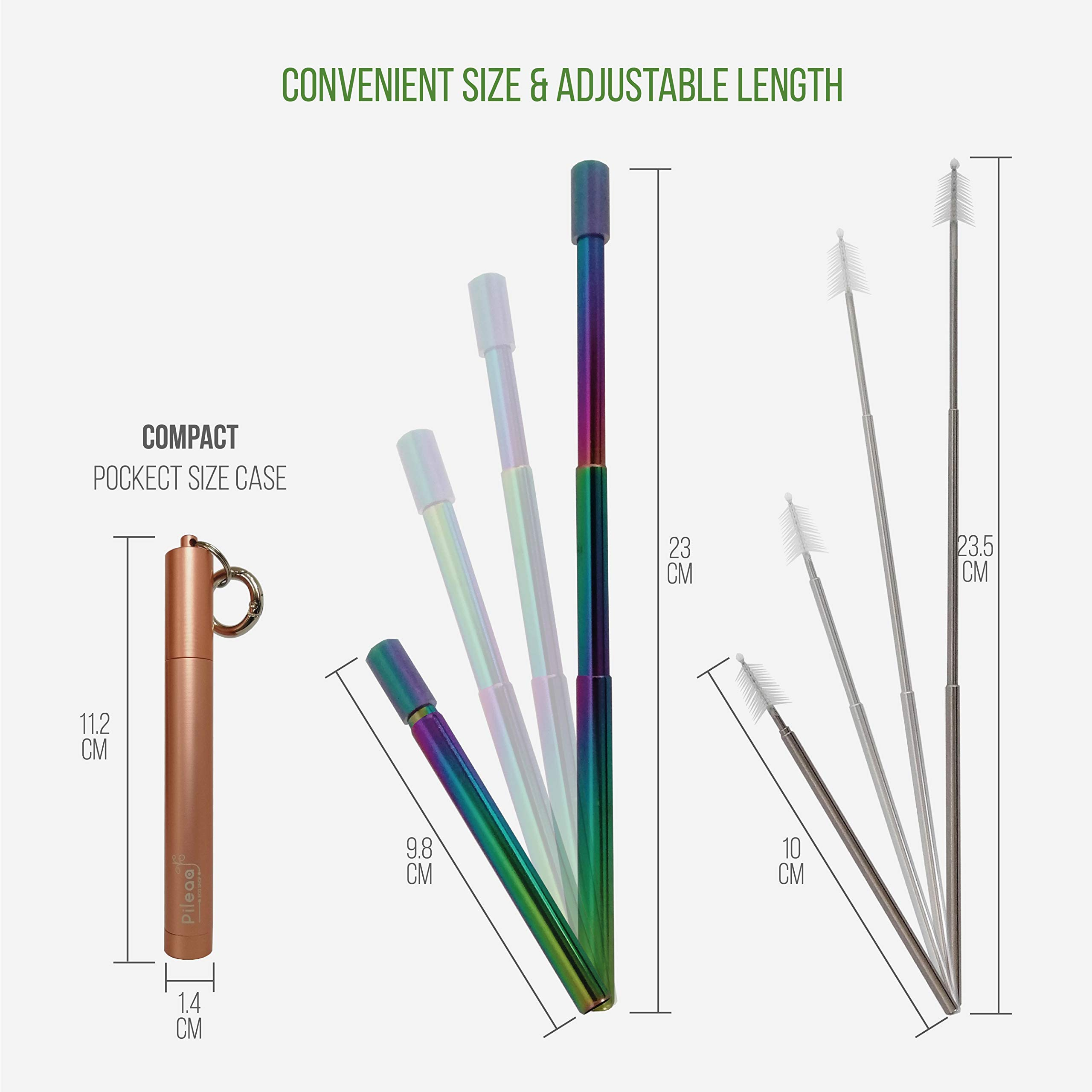 Pileaa Stainless Steel Straw with case, Rainbow Reusable Metal Straw, Retractable Telescopic Straw, Travel Portable Straw with Brush, Pocket Straws, Zero Waste Products, Gold Rose