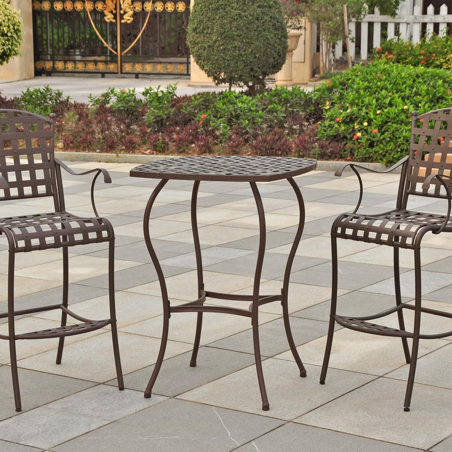 Amazon.com: Santa Fe Iron Bar Bistro Set of Three (Matte Brown) (39 ...