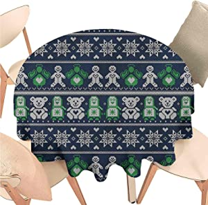 Linhomedecor Dining Round Tablecloth Christmas,Penguins Teddy Bears,Indoor Outdoor Spillproof Tablecloth Table Cover for Spring Summer Patio Garden Tabletop Decor Diameter 48 inch