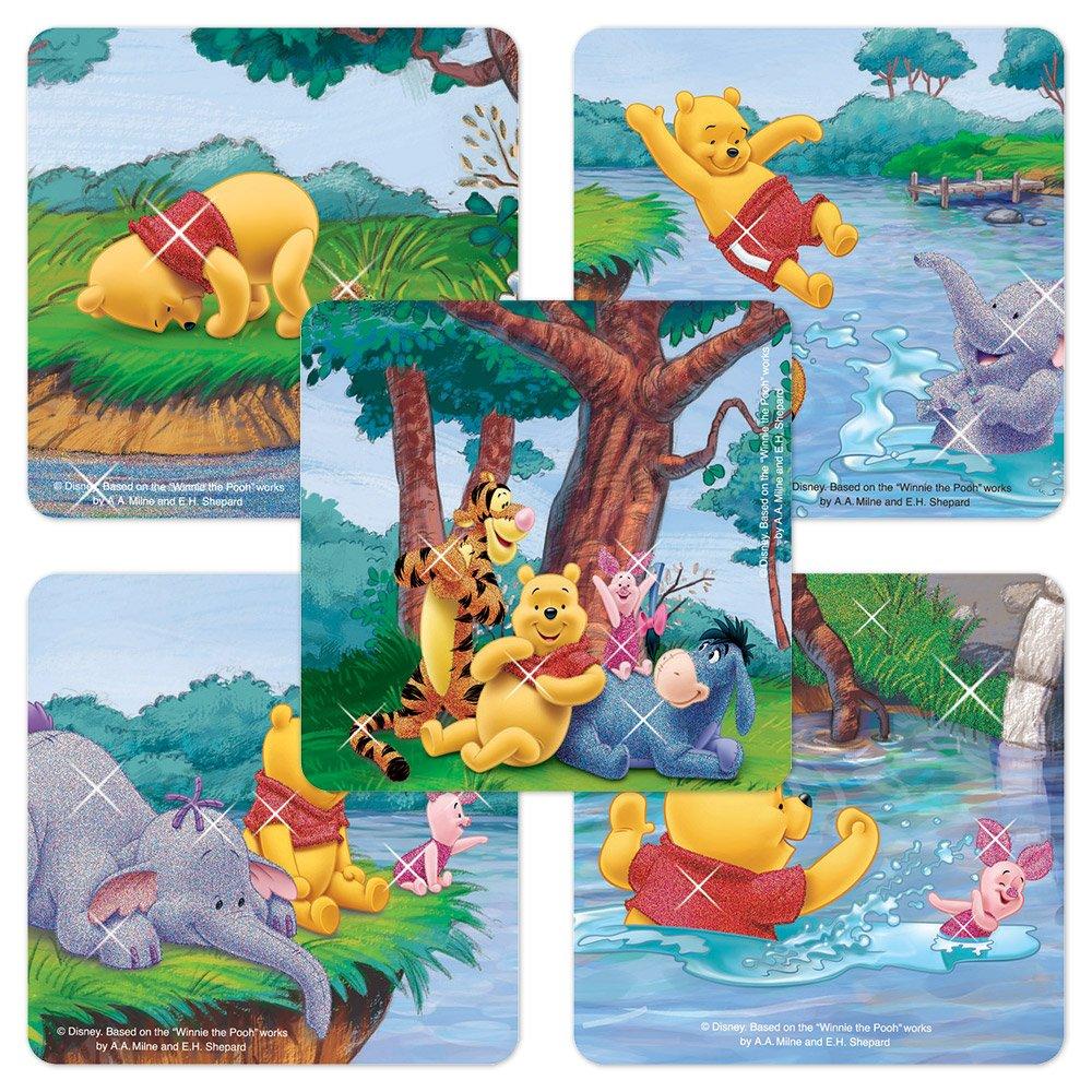 Pooh Glitter Stickers - 50 Per Pack