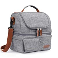 LOKASS Lunch Bag Double Deck Insulated Lunch Box Large Cooler Tote Bag with Removable...
