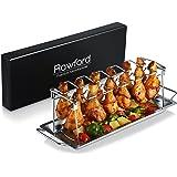 Rawford supporto per cosce di pollo con posto per 12cosce–per ali di pollo grigliate alla perfezione–sostegno pieghevole in acciaio inox per cosce di pollo