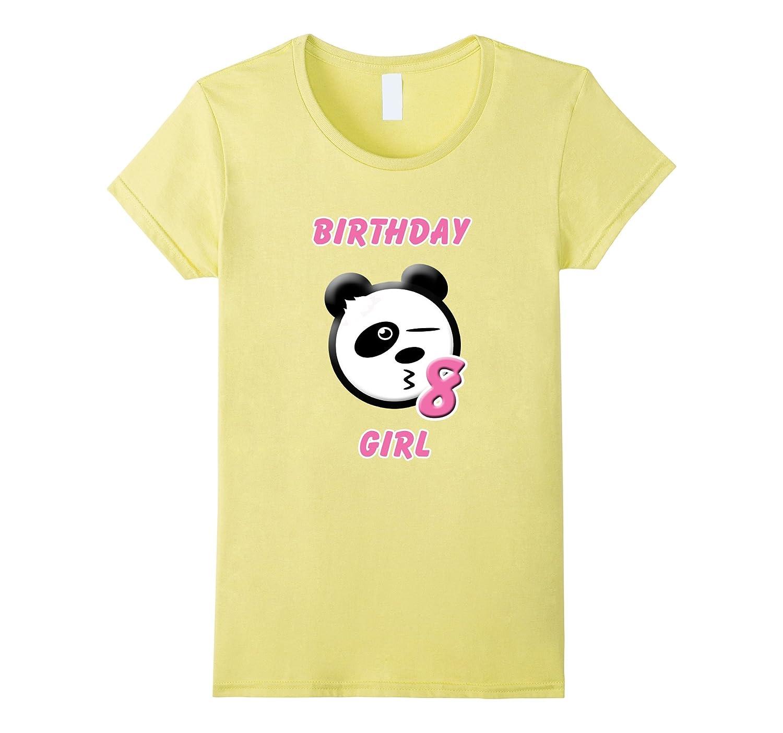 Panda, Emoji, Birthday Girl, 8th Birthday T-shirt