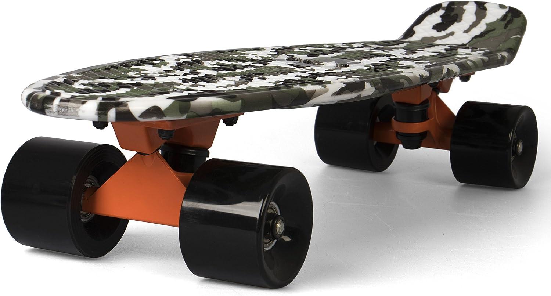 SportPlus EZY! Mini-Cruiser Retro Skateboard mit ABEC-5 Kugellager, Länge ca. 56 cm, 3,25 Zoll Aluminium Trucks, geprüft nach EN 13613, Verschiedene Designs kaufen